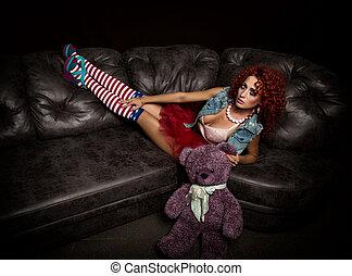 doll., μόδα , αρέσω , κατσαρός , poppet, men., ρυθμός , παρουσιαστικό , κοκκινομάλλης , ελκυστικός προς το αντίθετον φύλον , κορίτσι , ενήλικος