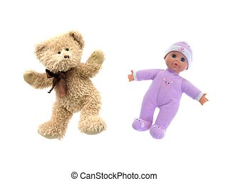 A toy doll isolated against a white background