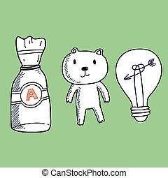 Doll and bulb cartoon object