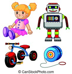 Doll and other toys on white background illustration