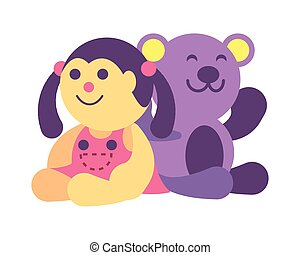 doll and teddy bear on white background, baby toys