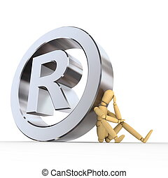 Doll At Registered Trademark Sign - doll/lay figure sitting...