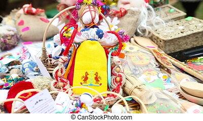 Doll at the fair. Trade Shop. Close-up