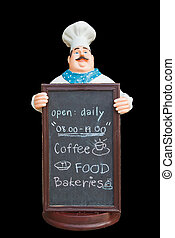 Doll ceramic chef with chalkboard isolate on black background,with clipping path.