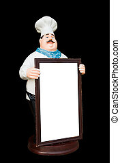 Doll ceramic chef with whiteboard isolate on black background,with clipping path.