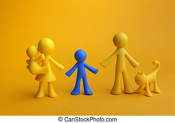 Doll family design with one different kid on yellow background. Autism symbol
