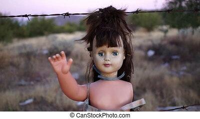 Doll Horror Hanging Handheld Close