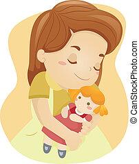 Doll Hug - Illustration of a Kid Hugging Her Doll