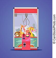 Doll machine. Vector flat cartoon illustration