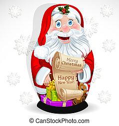 Doll Matrioshka Santa Claus with gifts and congratulations...