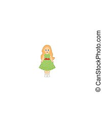 Doll of a little girl in a green dress on a white background