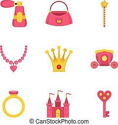 Doll princess icon set, flat style