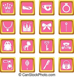 Doll princess items icons pink