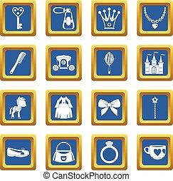 Doll princess items icons set blue