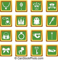 Doll princess items icons set green