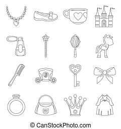 Doll princess items icons set, outline style