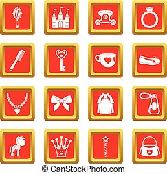 Doll princess items icons set red