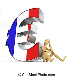 doll/lay figure sitting at/next to a metal Euro sign wondering - euro surface is textured with the french flag