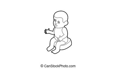 Doll sitting on the potty icon animation best outline object on white background