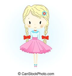 Doll Vector Illustration. Beautiful Golden Hair Puppet with red Bows. Little Girl