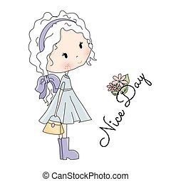 Doll Vector Illustration. Beautiful Little Girl with Bag in her Hands