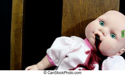 Doll vomit blood pose two - Horror clip child's toy doll...