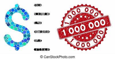 dollar, 000, collage, timbre, 1, valeur, détresse