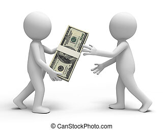 Dollar, a person giving a bundle of dollars to another one