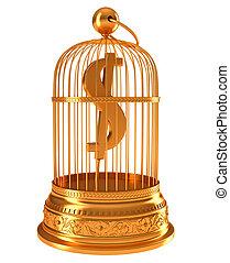 dollar américain, symbole monétaire, dans, doré, cage d'oiseaux