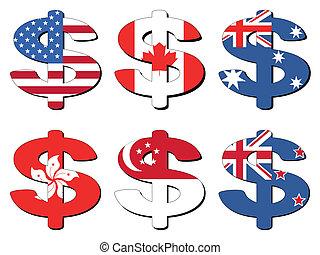 dollar, amerikaan, canadees