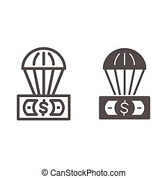 Dollar and air balloon line and solid icon, Finance concept, unsecured currency in air sign on white background, Hot air balloon with US dollar banknote icon in outline style. Vector graphics.