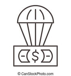 Dollar and air balloon thin line icon, Finance concept, unsecured currency in air sign on white background, Hot air balloon with US dollar banknote icon in outline style. Vector graphics.