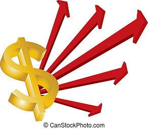 dollar and arrows