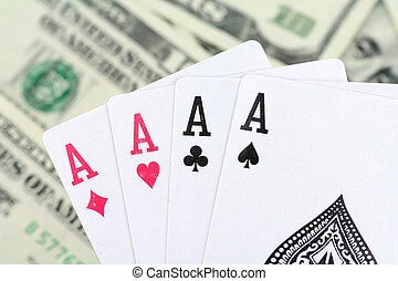 gambling - dollar and cards, concept of gambling