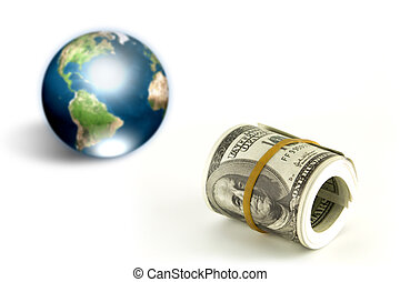 Dollar and eartth (Elements of this image furnished by NASA)