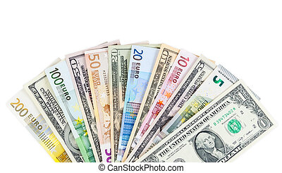 Dollar and euro banknotes on white background