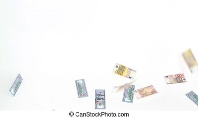 Dollar and euro banknotes rain on white background