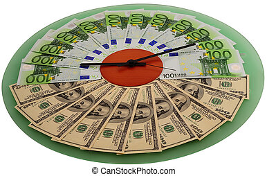Dollar And Euro  Bills Lying On The Dial Of Wall Clock