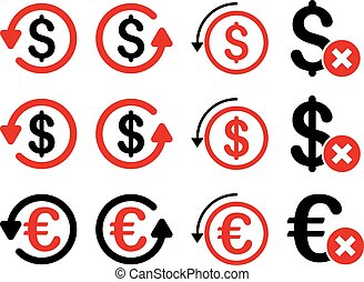 Dollar and Euro Chargeback vector icon set. Style is intensive red and black flat symbols isolated on a white background.