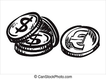 Dollar and euro coins