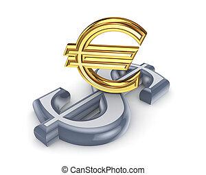Dollar and euro.