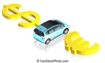 Dollar and euro sign with car - 3D animation of a simple...