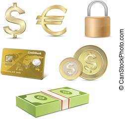 Dollar and Euro signs. Financial symbols. - Vector finance...