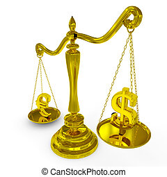 Dollar and euro signs on a scales.