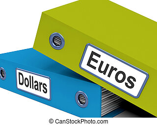 Dollar And Euros Folders Show Global Currency Exchange