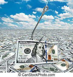 Dollar and fish-hook on cloudscape. Financial concept.. 3d