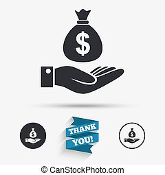 Dollar and hand sign. Palm holds money bag. - Dollar and...