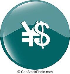dollar and yen money sign button, web icon vector illustration