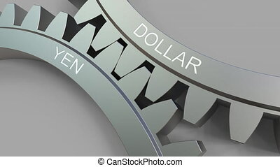 DOLLAR and YEN words on meshing gears. Forex conceptual animation