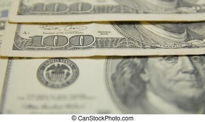 dollar, argent, factures, 100